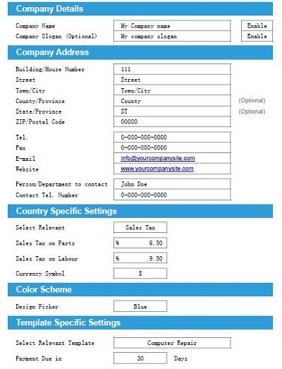 computer repair invoice template