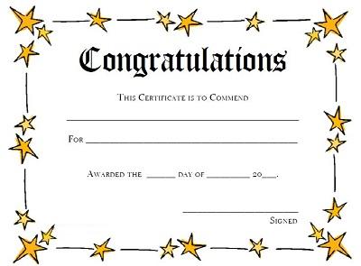 congratulation certificates