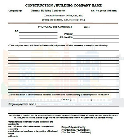 estimate format in excel free download