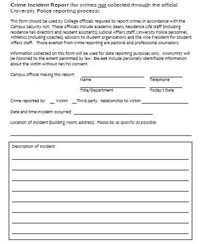 crime scene report form pdf