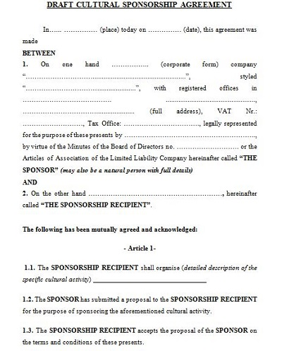 sample sponsorship agreement