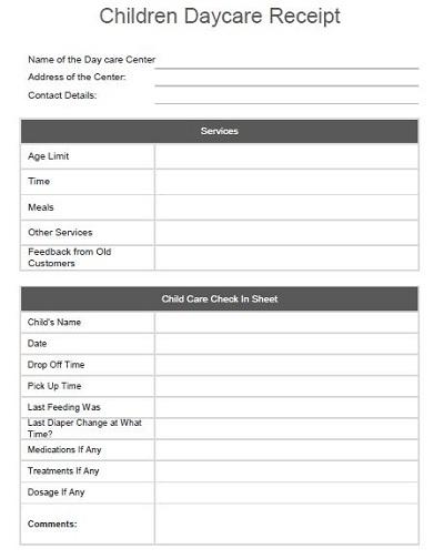 daycare receipt form
