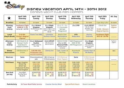 disney itinerary template