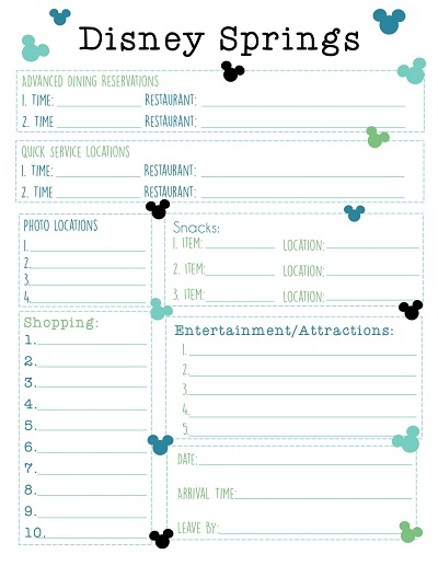 disneyland itinerary template