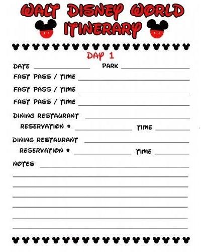 walt disney world itinerary template