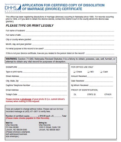 sample divorce paper