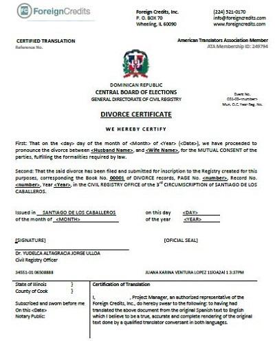 fake divorce certificate template