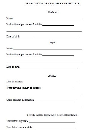 divorce paper format