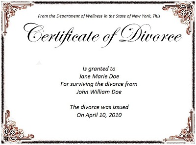what does a divorce certificate look like