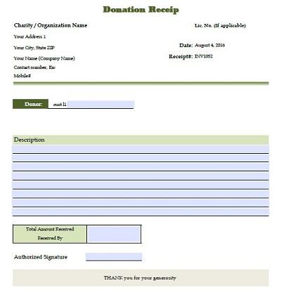 donation invoice