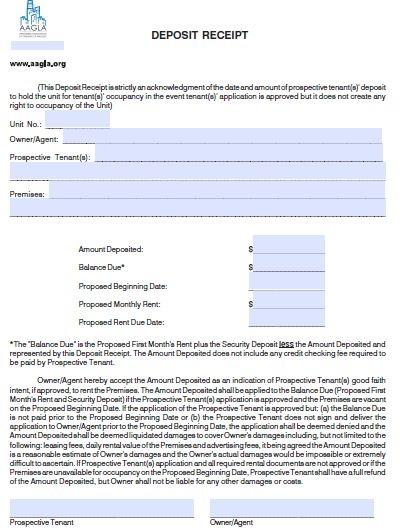 security deposit receipt form