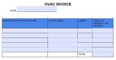 hvac invoice template free