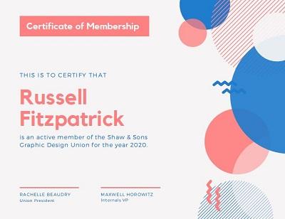 new members certificate