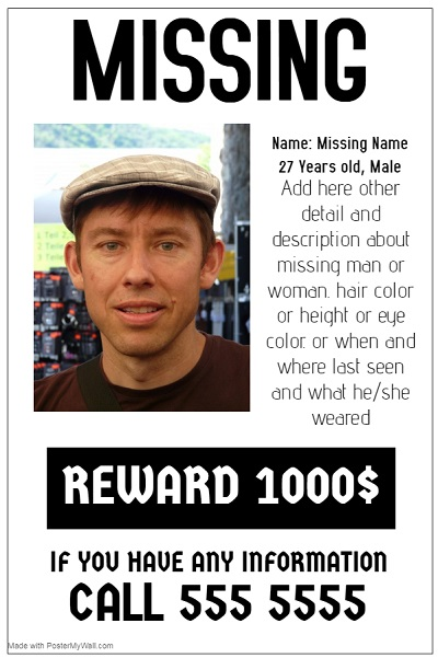 funny missing person poster