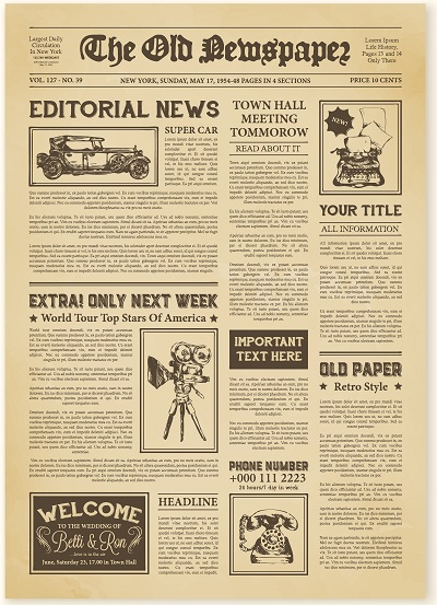 free vintage newspaper template