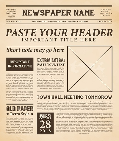 old timey newspaper template