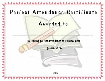 perfect attendance certificate printable