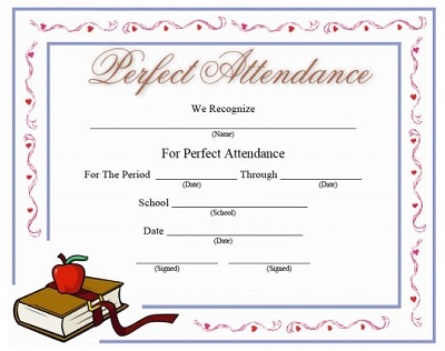 printable perfect attendance certificates