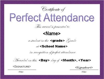 perfect attendance award wording