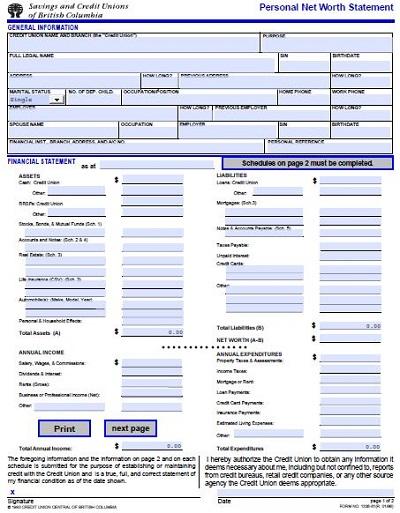 personal financial statement worksheet pdf