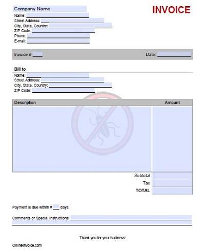 pest control forms templates