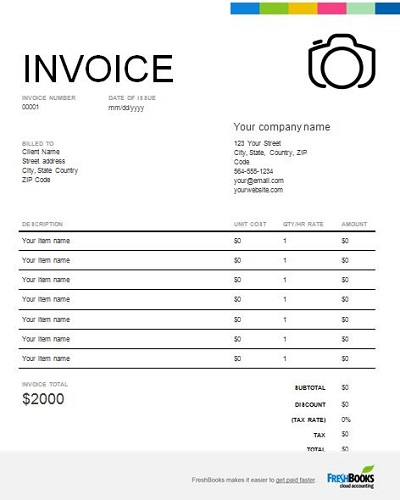 photography business invoice template