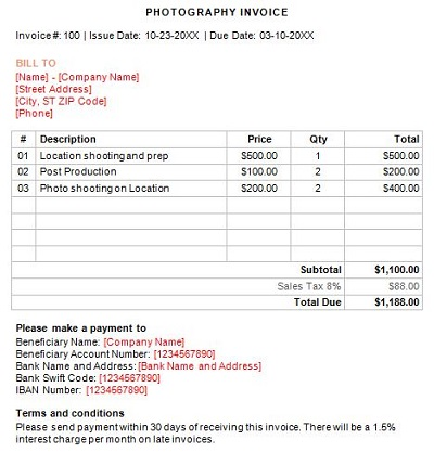 photography contract invoice template