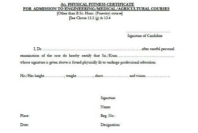 fitness certificate format