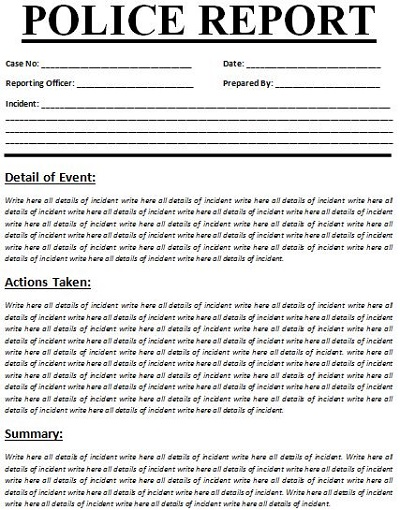 missing persons report template