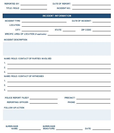 crime report template