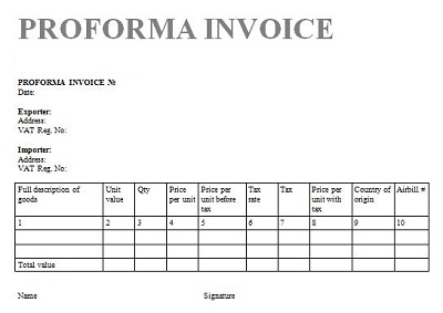 proforma invoice sample