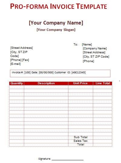 pro forma invoice sample