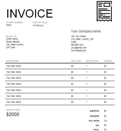 pro forma invoice form