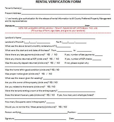 rental verification form word