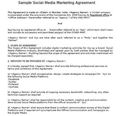 social media marketing contract