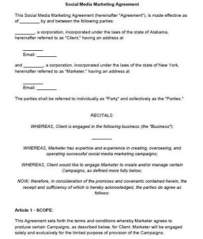 social media management contract