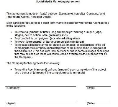 social media agency contract