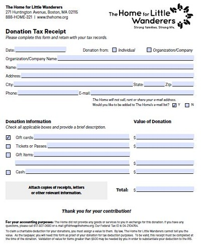 how to make a donation receipt