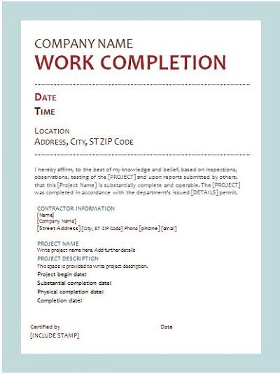 work completion letter format