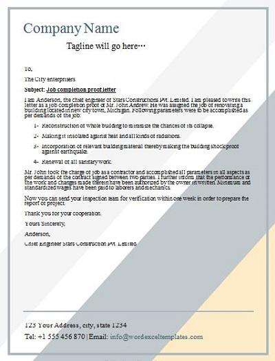 work done certificate