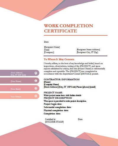 project certificate format in word