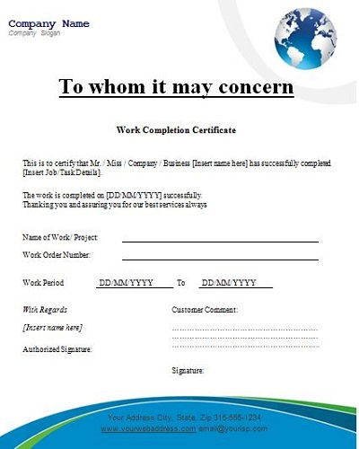 work done certificate format