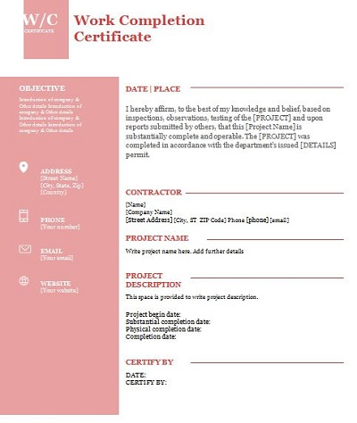 project completion certificate format