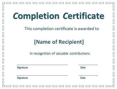 project completion certificate